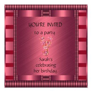 Invitation Elegant Pink Black Stripe