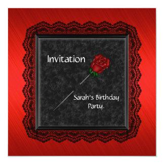 Invitation Elegant Red Rose Black Lace