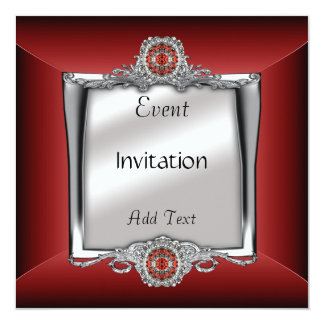 Invitation Elegant Silver Red Jewel