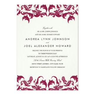 Invitation élégante de Bourgogne mariage damassé