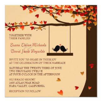 Invitation en baisse de mariage de chêne de coeurs