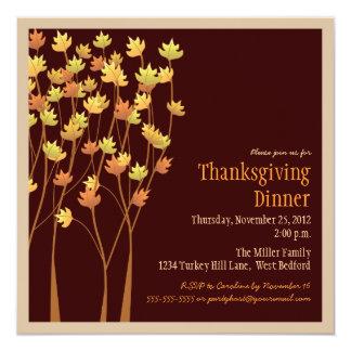 Invitation en baisse de thanksgiving de feuille