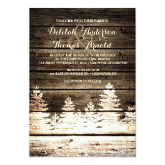 Invitation en bois de mariage d'hiver de pins de