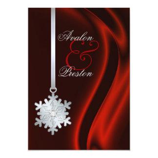 Invitation en soie rouge de flocon de neige