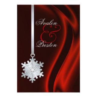 Invitation en soie rouge de flocon de neige argent