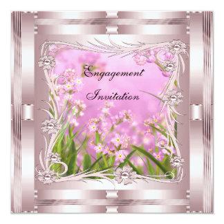 Invitation Engagement Pink Art Deco Floral
