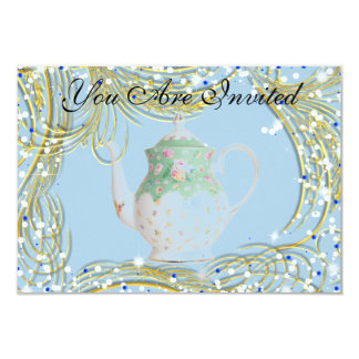 INVITATION - ENGAGEMENT TEA! - BLUE TEA POT DESIGN