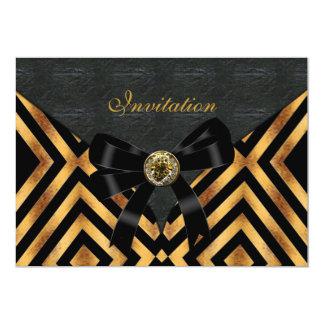 Invitation Exotic Gold Black Stripe Leather