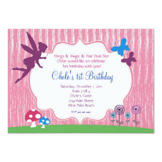 Invitation féerique d'anniversaire de jardin carton d'invitation  12,7 cm x 17,78 cm