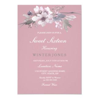 Invitation floral élégant rose poussiéreux du