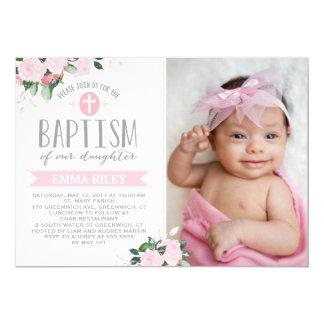 Invitation florale de baptême des fleurs  