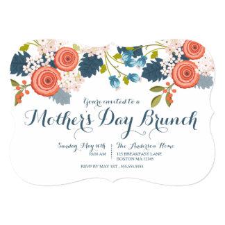 Invitation florale de brunch du jour de mère de carton d'invitation  12,7 cm x 17,78 cm