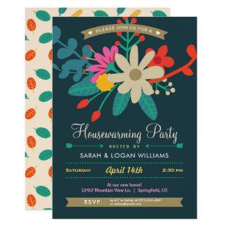 Invitation florale vibrante de partie de pendaison