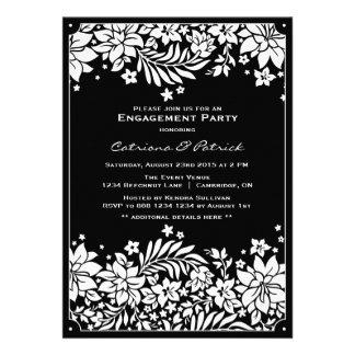 Invitation florale vintage noire de partie de fian