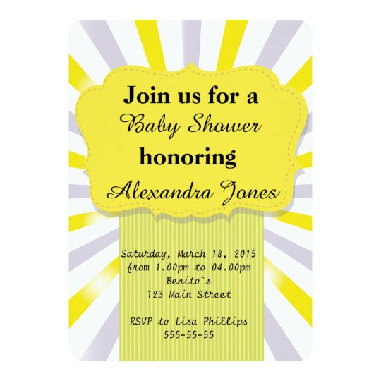 Invitation for Baby Shower yellow grey boy girl