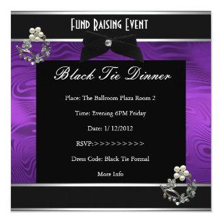Invitation Fund Raiser Formal Black Tie Purple