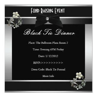 Invitation Fund Raiser Formal Black Tie Silver