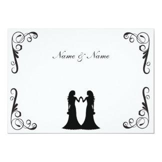 Invitation gai de mariage - deux jeunes mariées