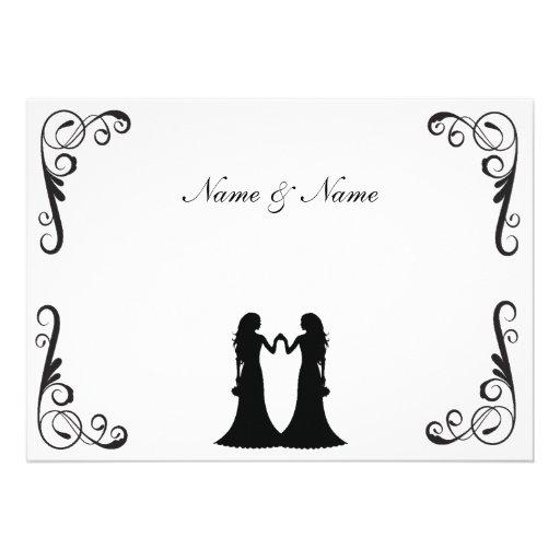 Invitation gai de mariage - deux jeunes mariées no
