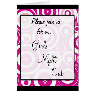 Invitation ~ Girls Night Out :: Retro Pink Design Greeting Card