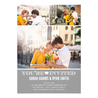 Invitation grise de photo du mariage trois de coeu