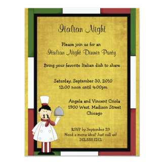 Invitation italienne de dîner de nuit carton d'invitation 10,79 cm x 13,97 cm