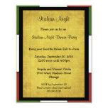 Invitation italienne de partie de nuit carton d'invitation 10,79 cm x 13,97 cm