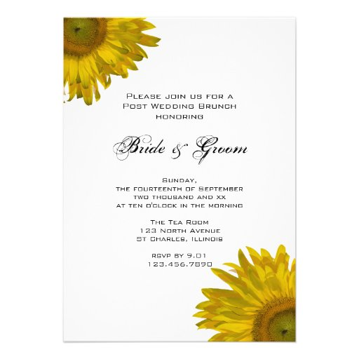 Invitation jaune de brunch de mariage de courrier