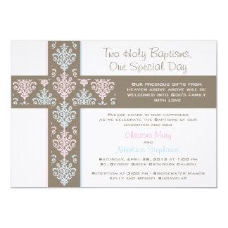 Invitation jumelle de baptême de garçon et de carton d'invitation  12,7 cm x 17,78 cm