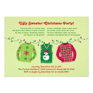 Invitation laide de fête de Noël de chandail