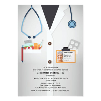 Invitation médicale de retraite de photo de carton d'invitation  12,7 cm x 17,78 cm