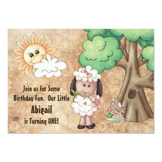 Invitation mignon d'anniversaire de moutons et de