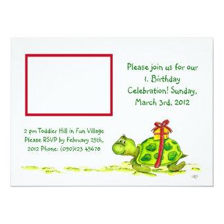 Invitation mignon de tortue pour un anniversaire