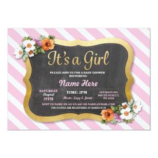 Invitation mignon floral de rose de rayure de baby