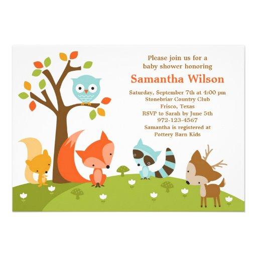 Invitation mignonne d'animal de région boisée