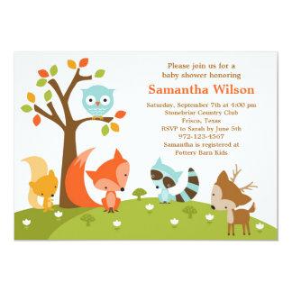 Invitation mignonne d'animal de région boisée carton d'invitation  12,7 cm x 17,78 cm