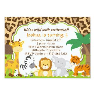 Invitation mignonne d'animal de safari