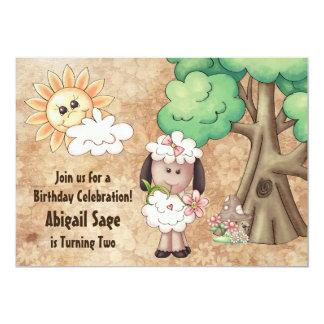 Invitation mignonne d'anniversaire de moutons et