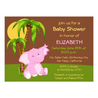 Invitation mignonne de baby shower de fille d élép