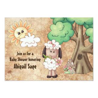 Invitation mignonne de baby shower de moutons et