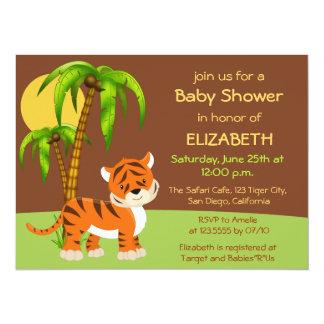 Invitation mignonne de baby shower de tigre de