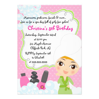 Invitation mignonne de fête d anniversaire de spa