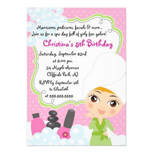 Invitation mignonne de fête d'anniversaire de spa