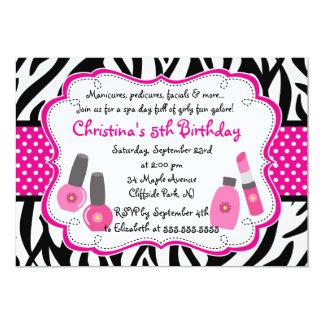 Invitation mignonne de fête d'anniversaire de spa carton d'invitation  12,7 cm x 17,78 cm