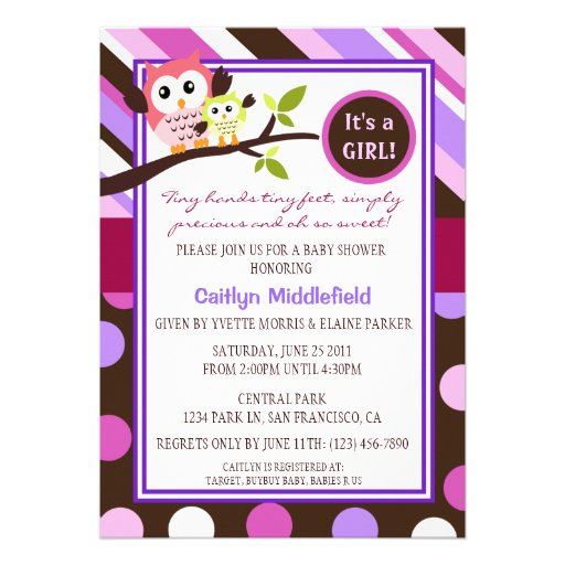 Invitation moderne de baby shower de hiboux