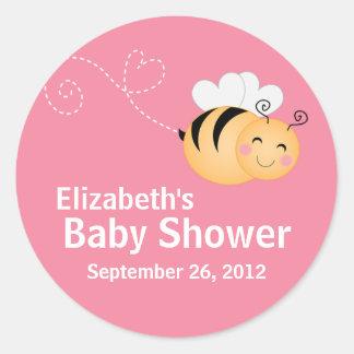 Invitation moderne mignonne de baby shower sticker rond