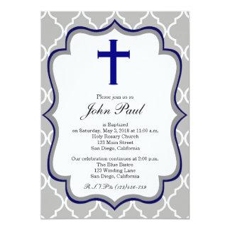 Invitation moderne Quatrefoil de baptême pour des
