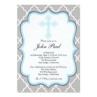 Invitation moderne Quatrefoil de baptême pour des Carton D'invitation 12,7 Cm X 17,78 Cm
