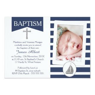 Invitation nautique argentée de baptême de Faux