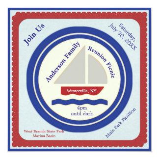 Invitation nautique rouge, blanche, bleue de
